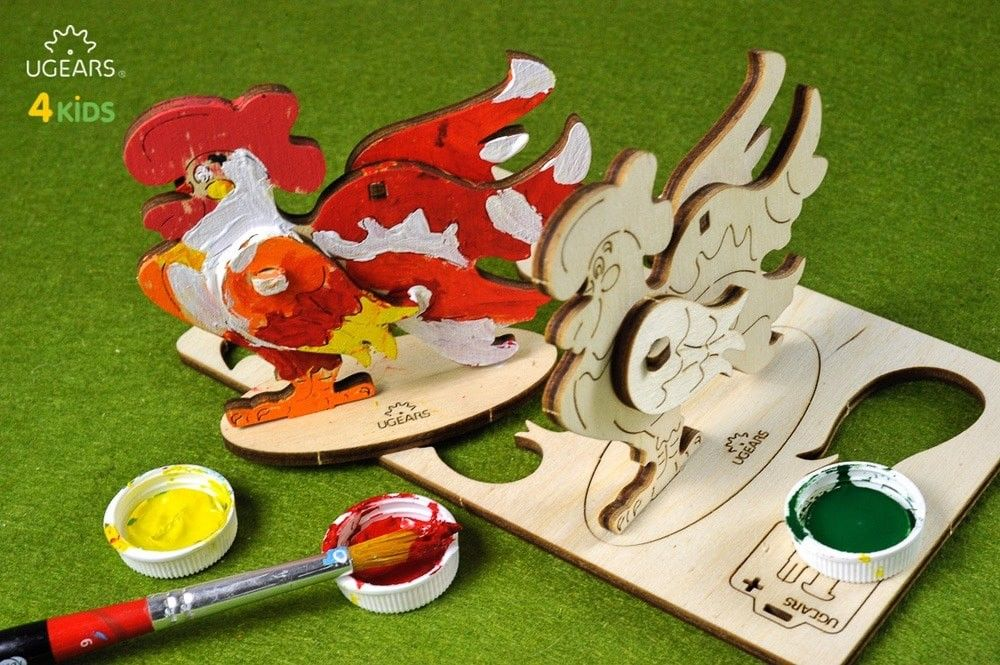 UGears Rooster NO GLUE REQUIRED 3D-puzzle Coloring Model - 8 pieces (Easy) UGR10007 ($5 Incl Tax)