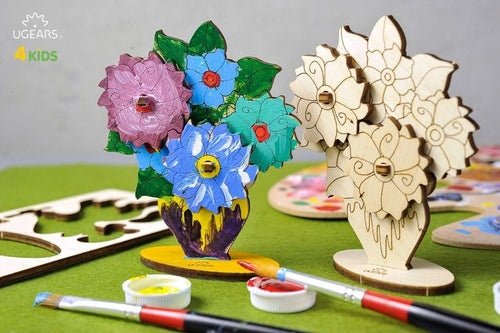 UGears Bouquet.  NO GLUE REQUIRED 3D-Puzzle Coloring Model - 8 pieces (Easy) UGR10008