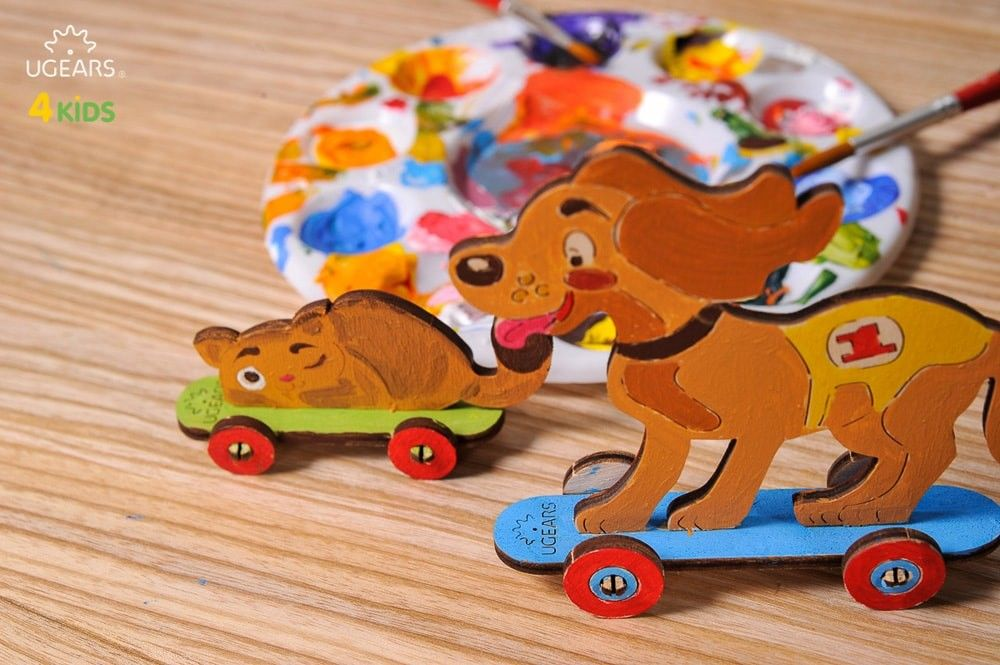 UGears NO GLUE REQUIRED Playful Kitten & Puppy 3D Puzzle Coloring Model  - 15 Pieces (Easy) UGR20004 ($5 Incl Tax)
