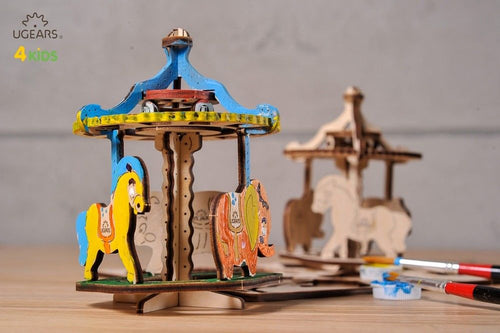 UGears NO GLUE REQUIRED Carnival Merry Go Round Carousel Model - 23 Pieces (Easy) UGR30005 ($6 Incl Tax)