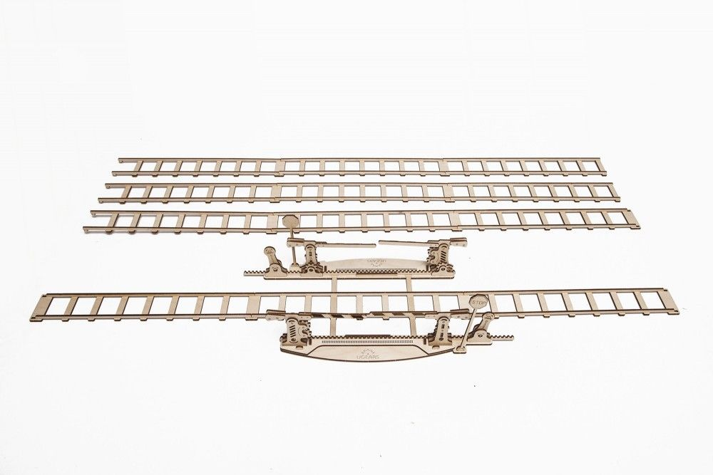 UGears  NO GLUE REQUIRED Rails with Crossing 200 Pieces (Medium) UGR70014