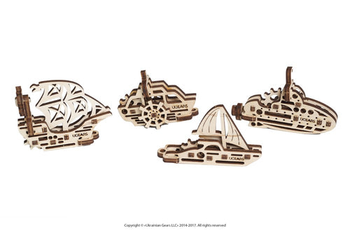 UGears  NO GLUE REQUIRED U-Fidget Ships  Sailing Yacht, Sailboat, Boat, Submarine - 12 pieces (Easy) UGR70035