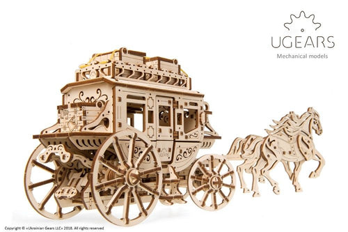 UGears  NO GLUE REQUIRED Wild West Stage Coach - 248 Pieces (Medium) UGR70045