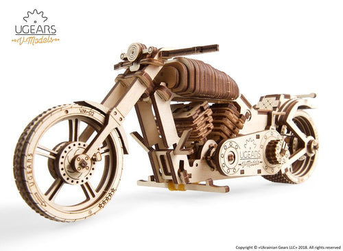 UGears NO GLUE REQUIRED Old Style Motorbike VM-02 - 189 Pieces (Medium) UGR70051