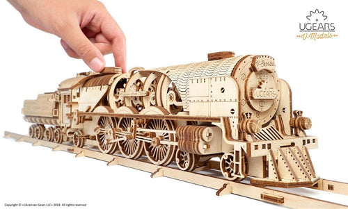 UGears NO GLUE REQUIRED V-Express Steam Train With Tender - 538 Pieces (Advanced) UGR70058