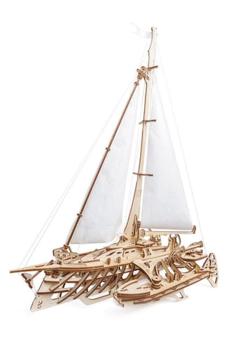 UGears NO GLUE REQUIRED Triamaran Merihobus Sailing Boat Model - 237 Pieces (Advanced) UGR70059