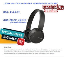 Load image into Gallery viewer, HALF PRICE *NEW* SONY WHCH500 ON-EAR HEADPHONES WITH MIC <OPEN BOX>