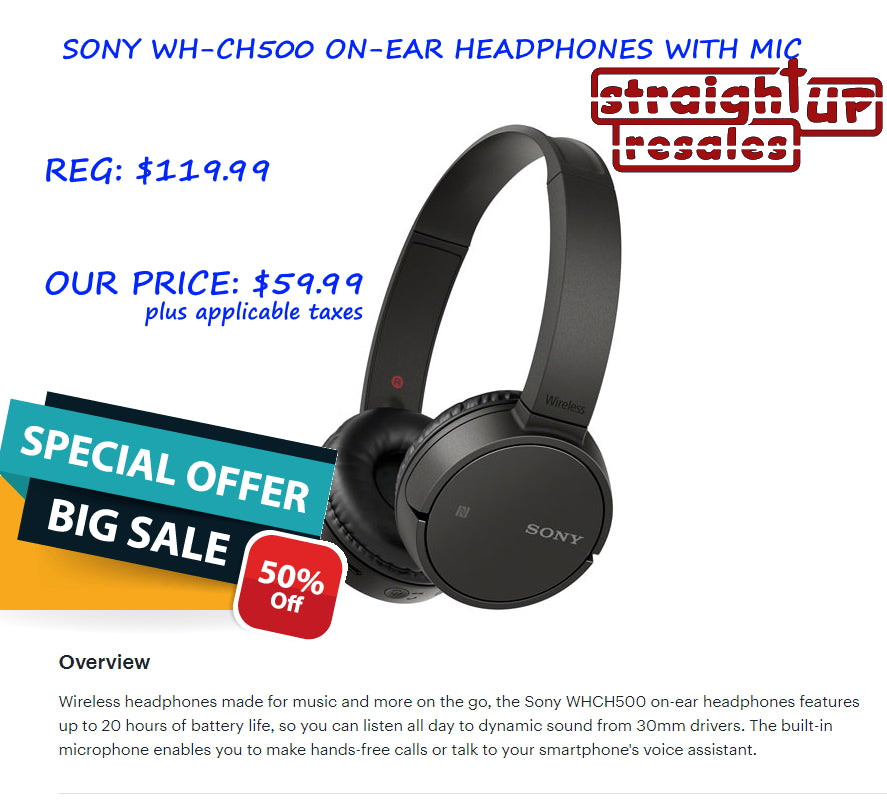 HALF PRICE *NEW* SONY WHCH500 ON-EAR HEADPHONES WITH MIC <OPEN BOX> ($67 Incl Tax)
