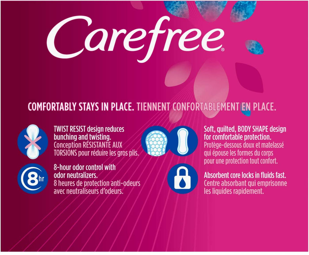 Carefree Acti-Fresh Panty Liners, Soft and Flexible Feminine Care Protection, Regular, 120 Count