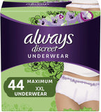 Always Discreet Incontinence & Postpartum Underwear for Women, Small/Medium, Maximum Protection, Disposable