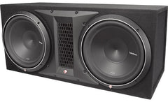 "Rockford Fosgate P2-2X12 Ported enclosure with two 12"" Punch P2 subwoofers"
