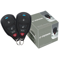 1-Way Python Security and Remote Start System features 1/4-mile range and two 4-button 1-way remote controls.