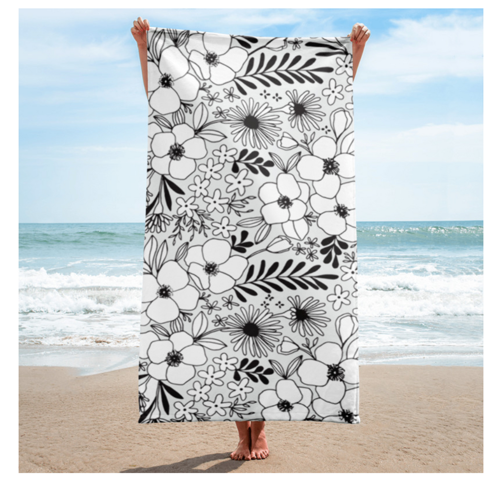 Flower Pattern Beach Towel