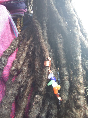 Chakra gemstone Loc, dreadlock braid Jewelry
