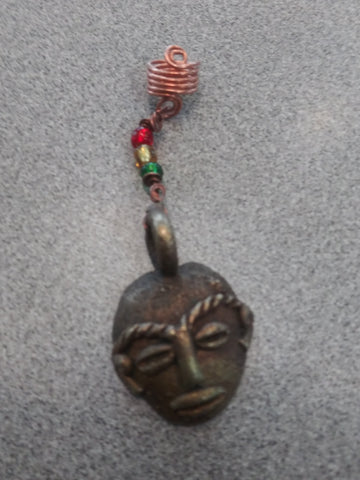 African mask loc jewelry, dreadlock jewelry