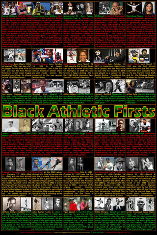 Great Black Athletic Firsts Poster, Black History, Black History Month posters