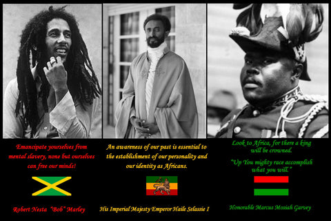 Black History Poster, Black History Hero poster, Garvey, Selassie, Noble Drew Ali, Great Black Men, Great Moorish Men