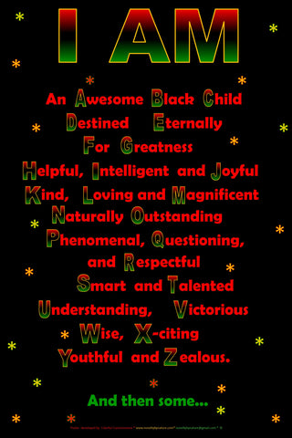 I  Am Alphabet Affirmation poster for Black Children, Black Childrens Affirmation Poster