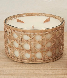 Large Rattan wrapped candle