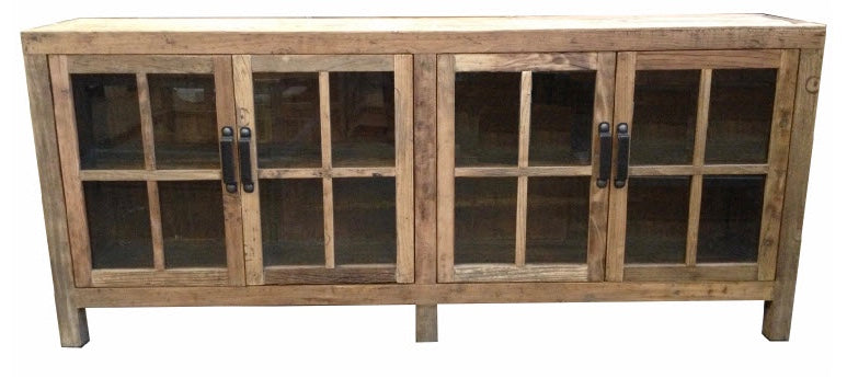 Natural Recycled Elm Sideboard with Glass Doors