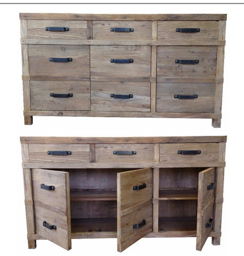 Recycled Natural Elm Door/Draw Sideboard