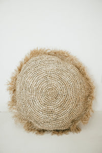 Round woven floor cushion