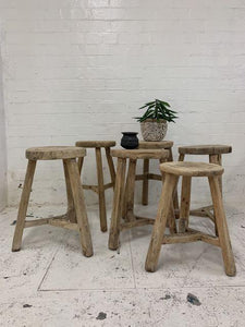 Round Reclaimed timber stool