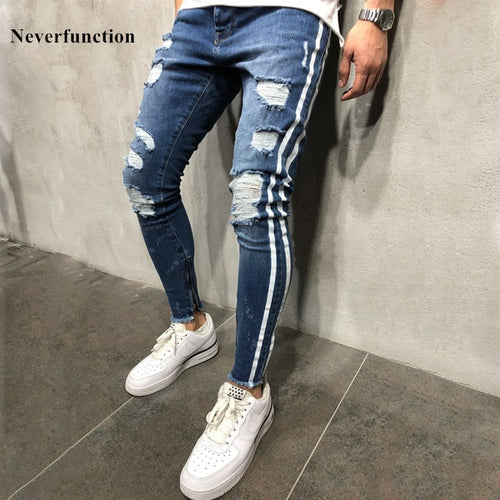 New Men Slim fit Knee Holes hip hop skinny jeans