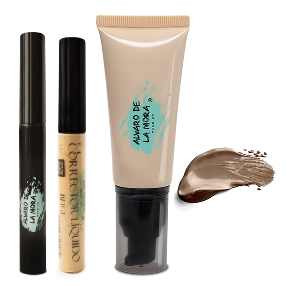 Kit Corrector liquido Beige - Make Up Liquido Chocolate - Delineador