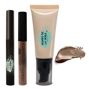 Kit Corrector liquido Chocolate - Make Up Liquido Chocolate - Delineador