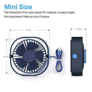 3-Speed Mute Strong Wind Cooling Suitable for Home Office Sleeping Outdoors Mini Portable Desk Fan White Small Personal USB Desktop Fan