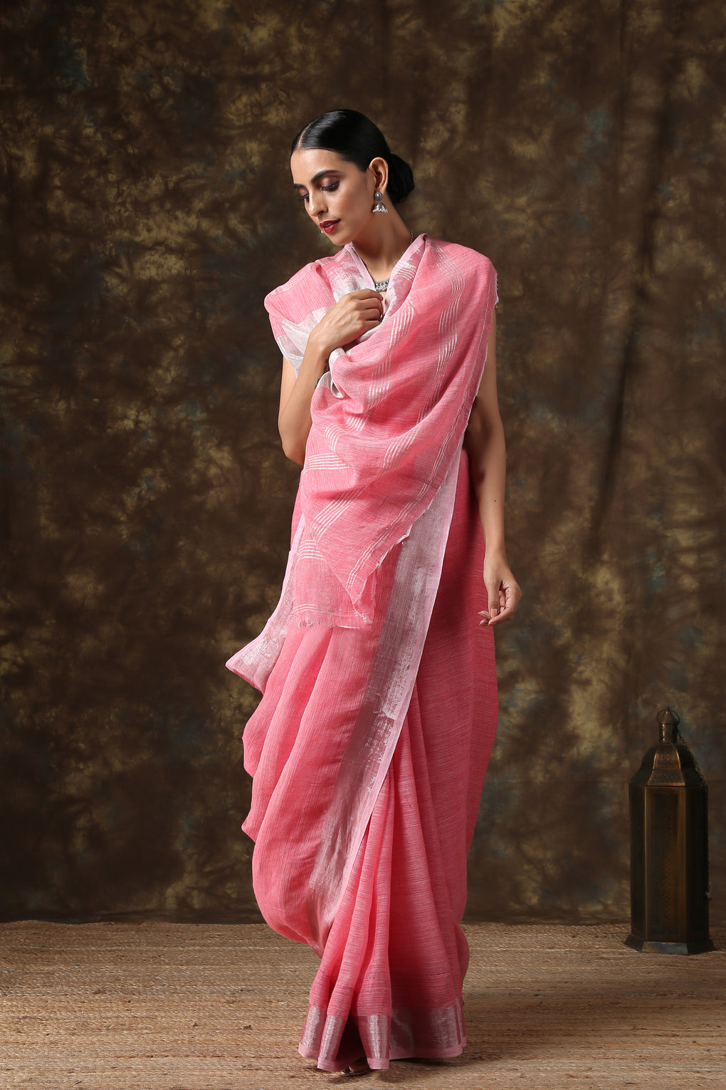 Pink Linen Saree with Silver Border and Blouse