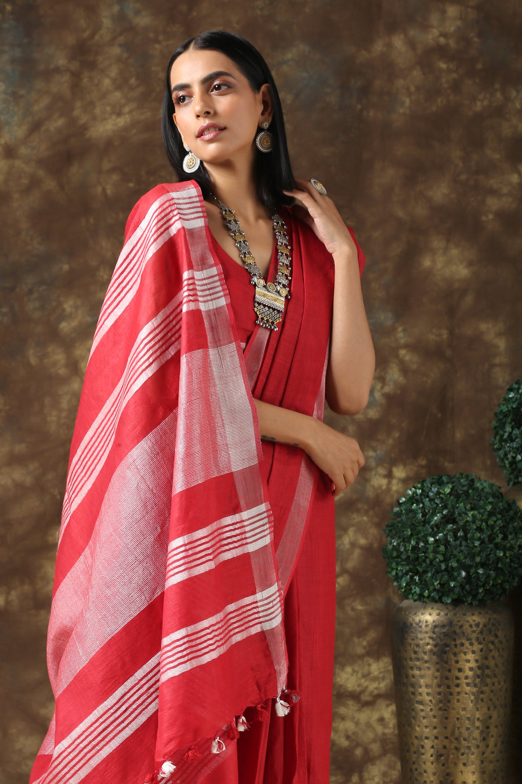Surreal Scarlet Linen Saree with Silver Border and Blouse