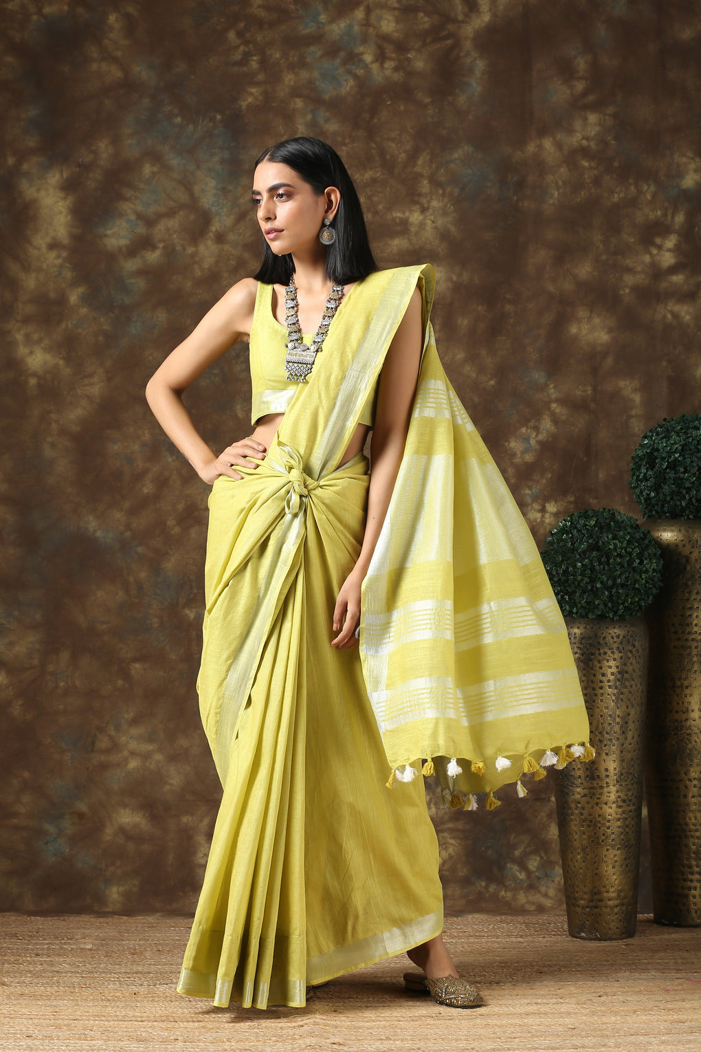 Lavish Lime Linen Saree with Silver Border and Blouse