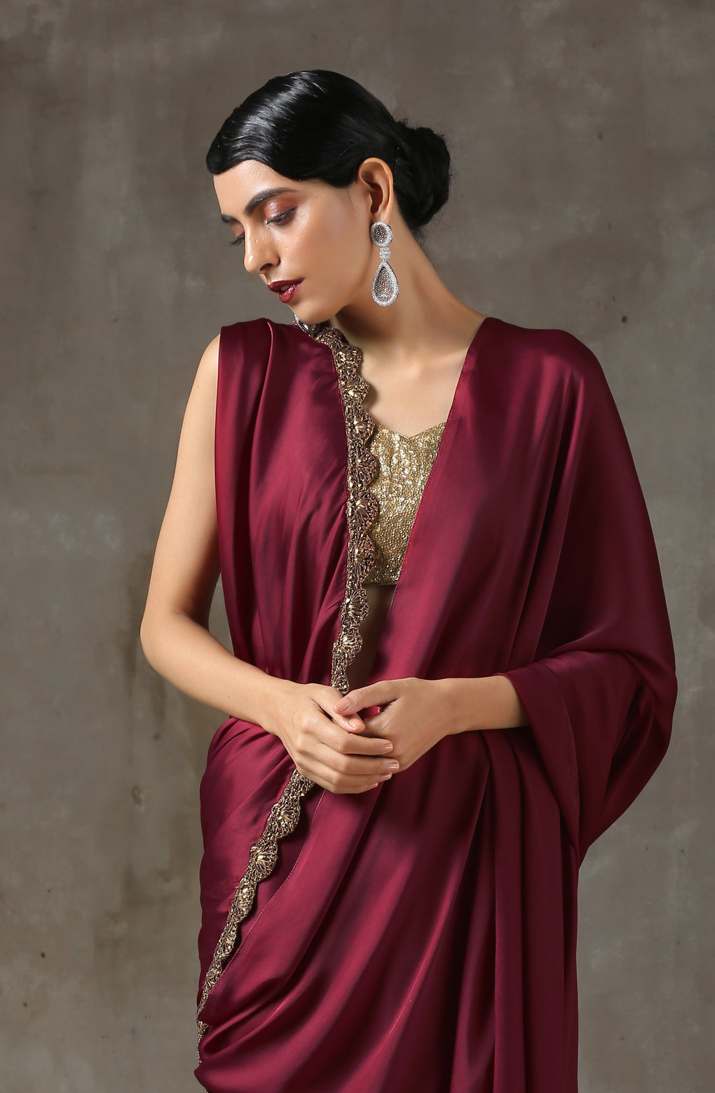 Sangria Satin Saree with Bronze Handmade Lace