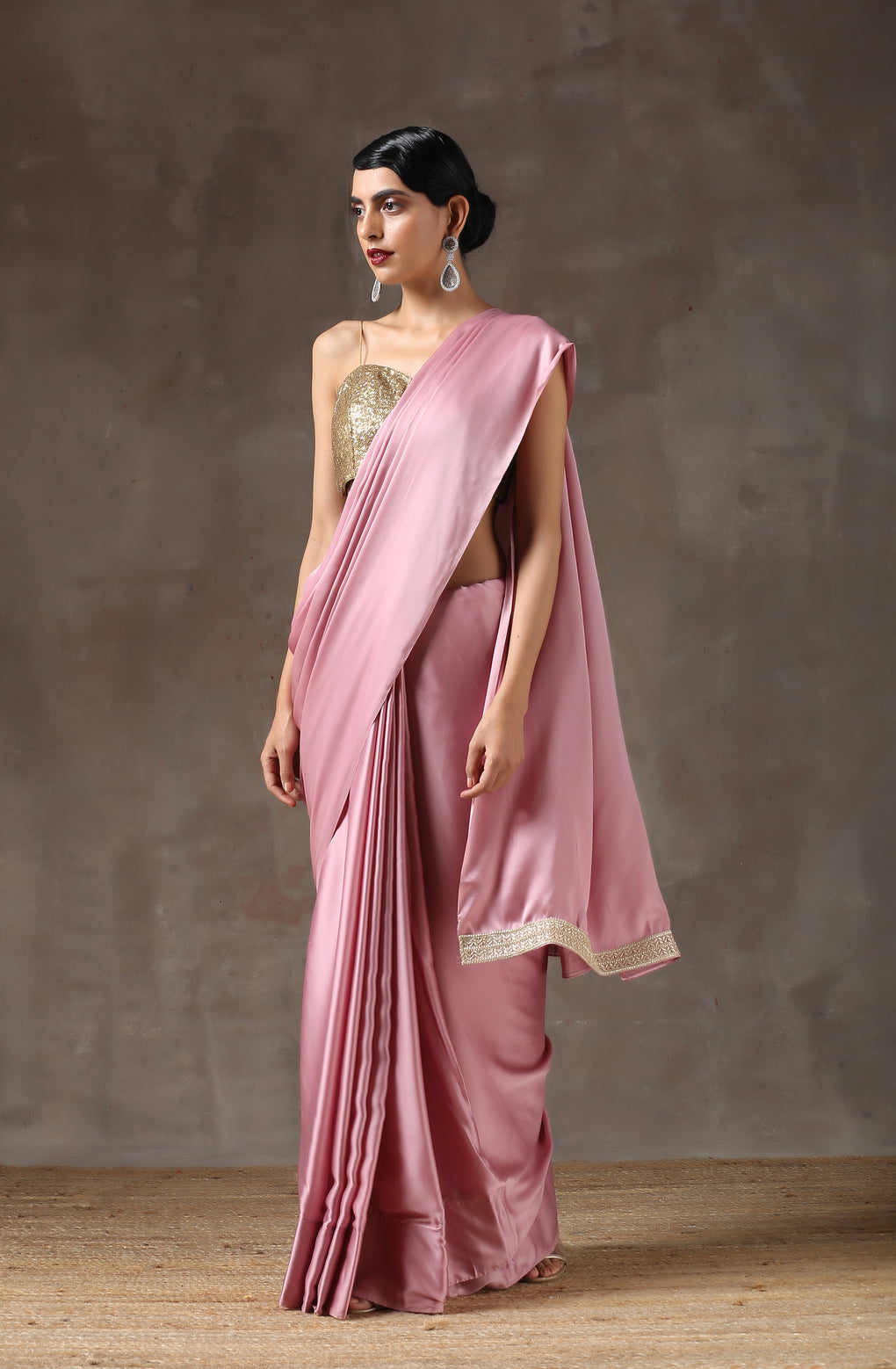 Blush Pink Satin Saree with Handmade Lace