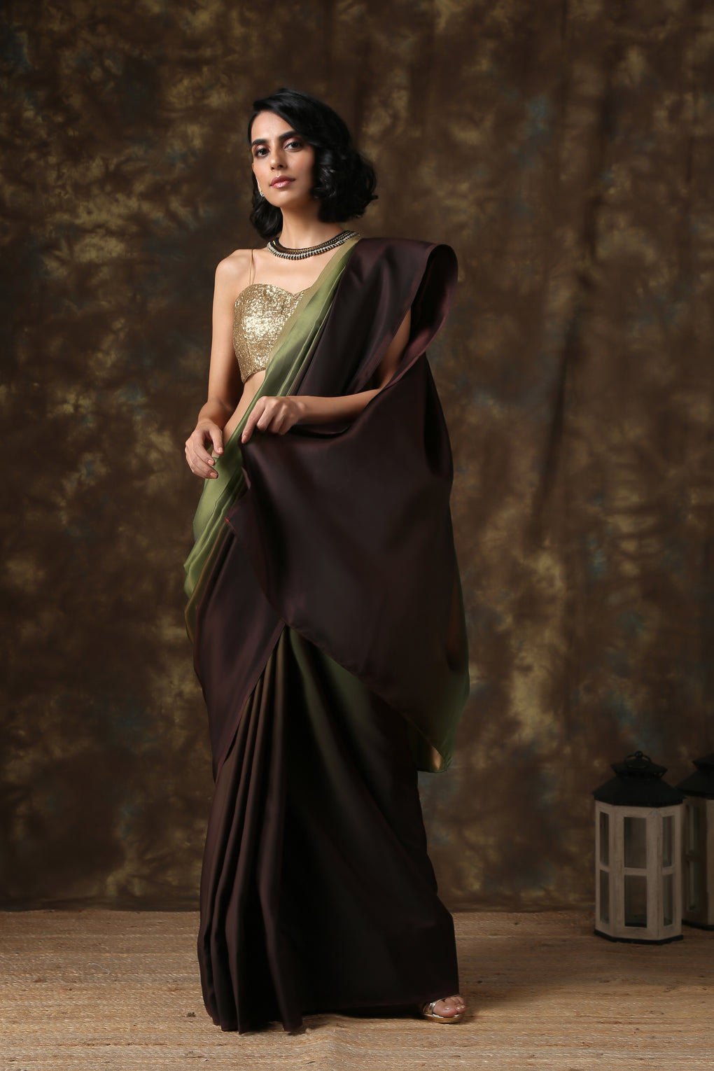 Dark Chocolate & Green Satin Ombre' Saree