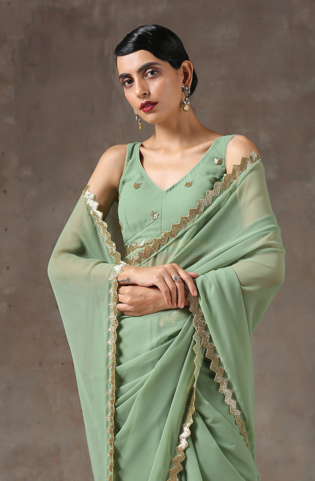 Sparking Henna Saree with Gold Sequins & Embellished Blouse