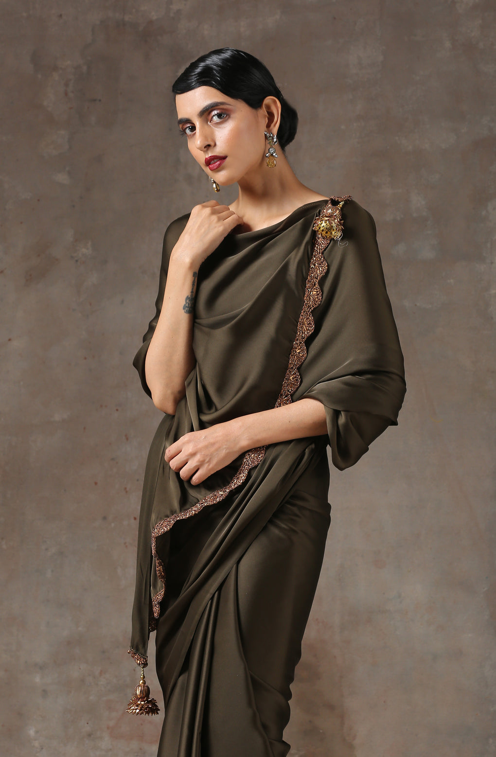 Olive Satin Saree with Bronze Handmade Lace & Pendant