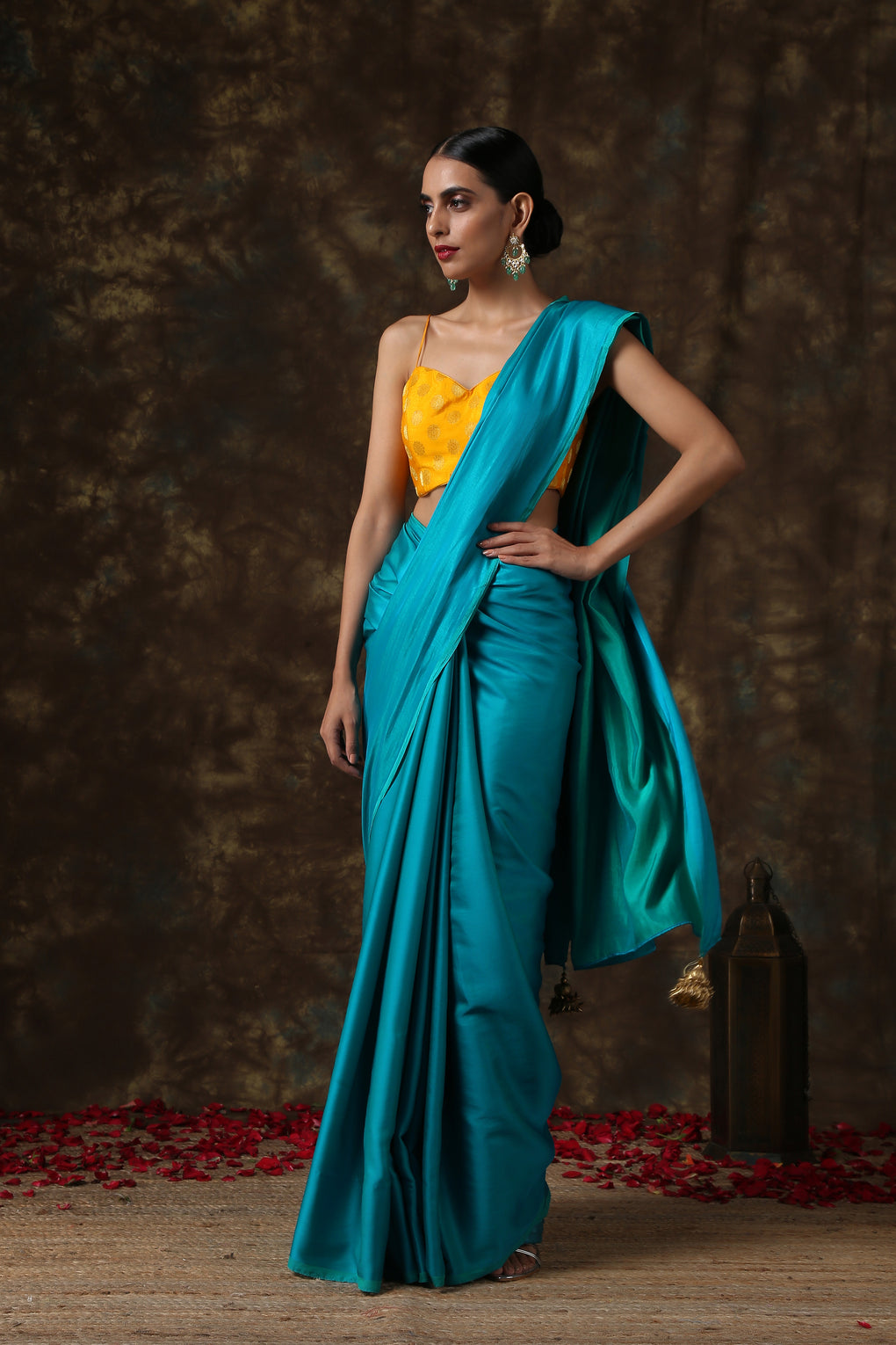 Elegant Teal Paradise Satin Saree