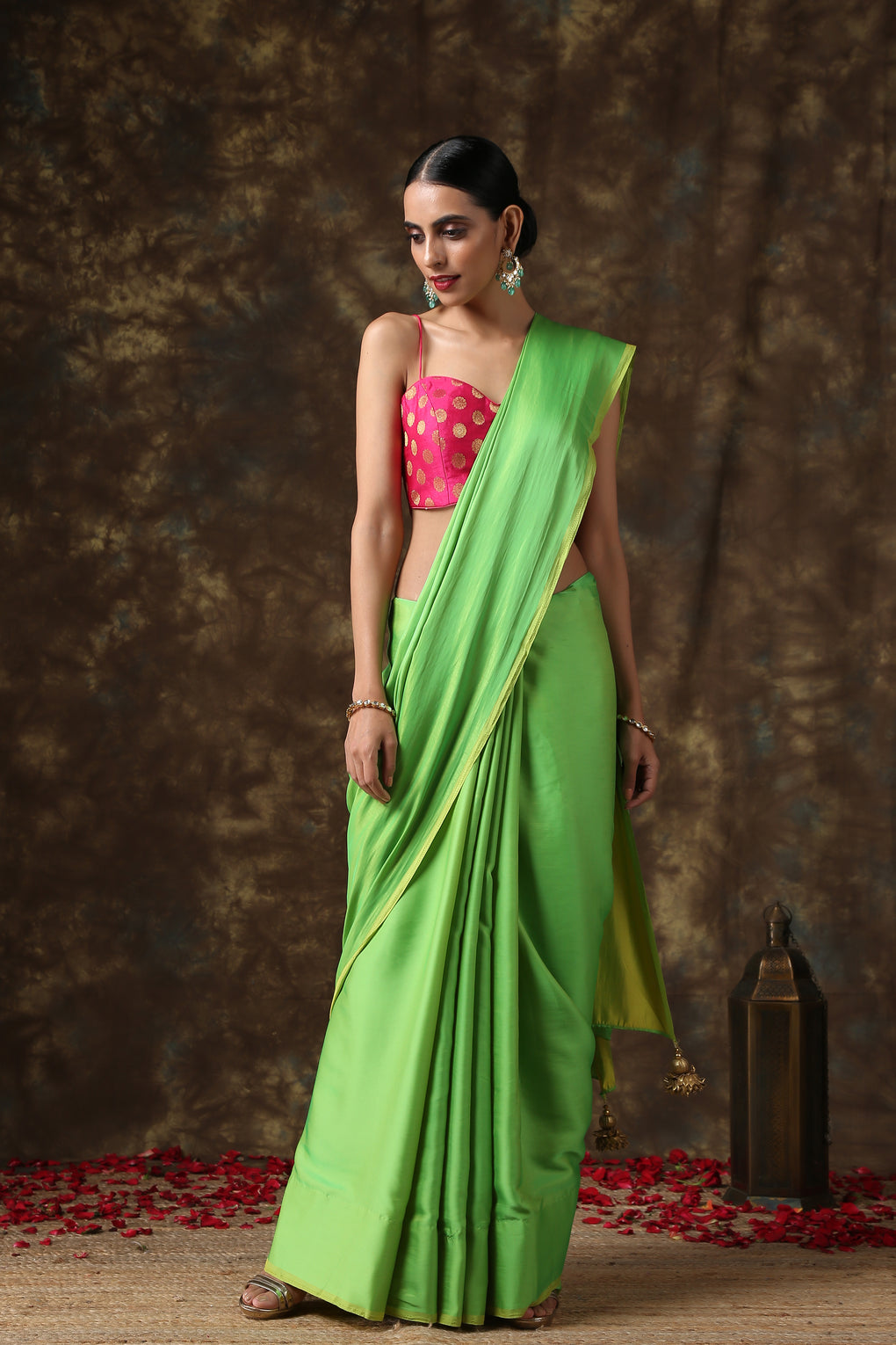 Chartreuse Green Paradise Satin Saree