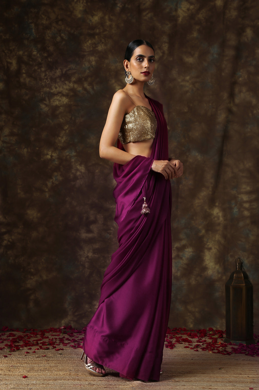 Wine Satin Saree with Bronze Pendants