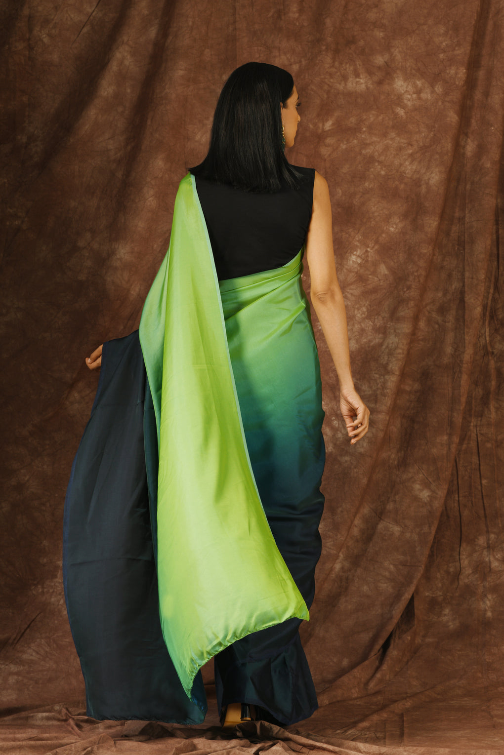 Light Green & Navy Satin Ombre' Saree