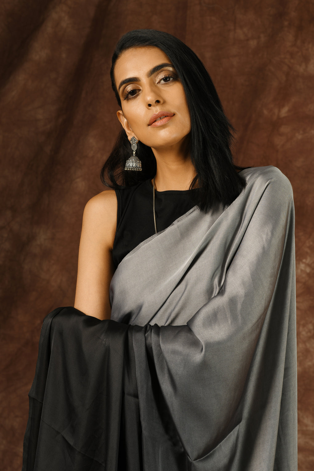 Black & Grey Satin Ombre' Saree