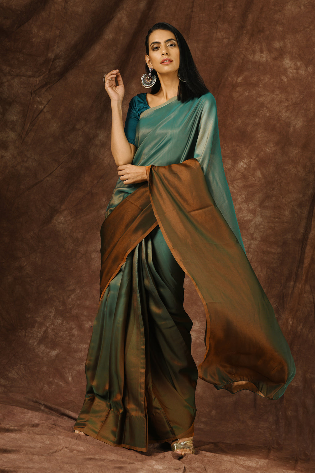 Blue & Brown Satin Ombre' Saree