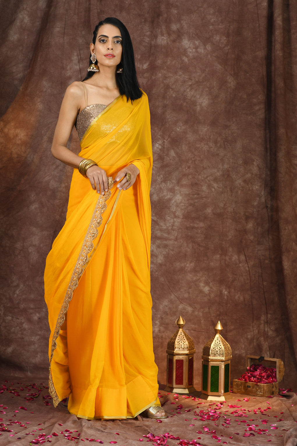 Yellow Chiffon with Gold Border Saree with Lace