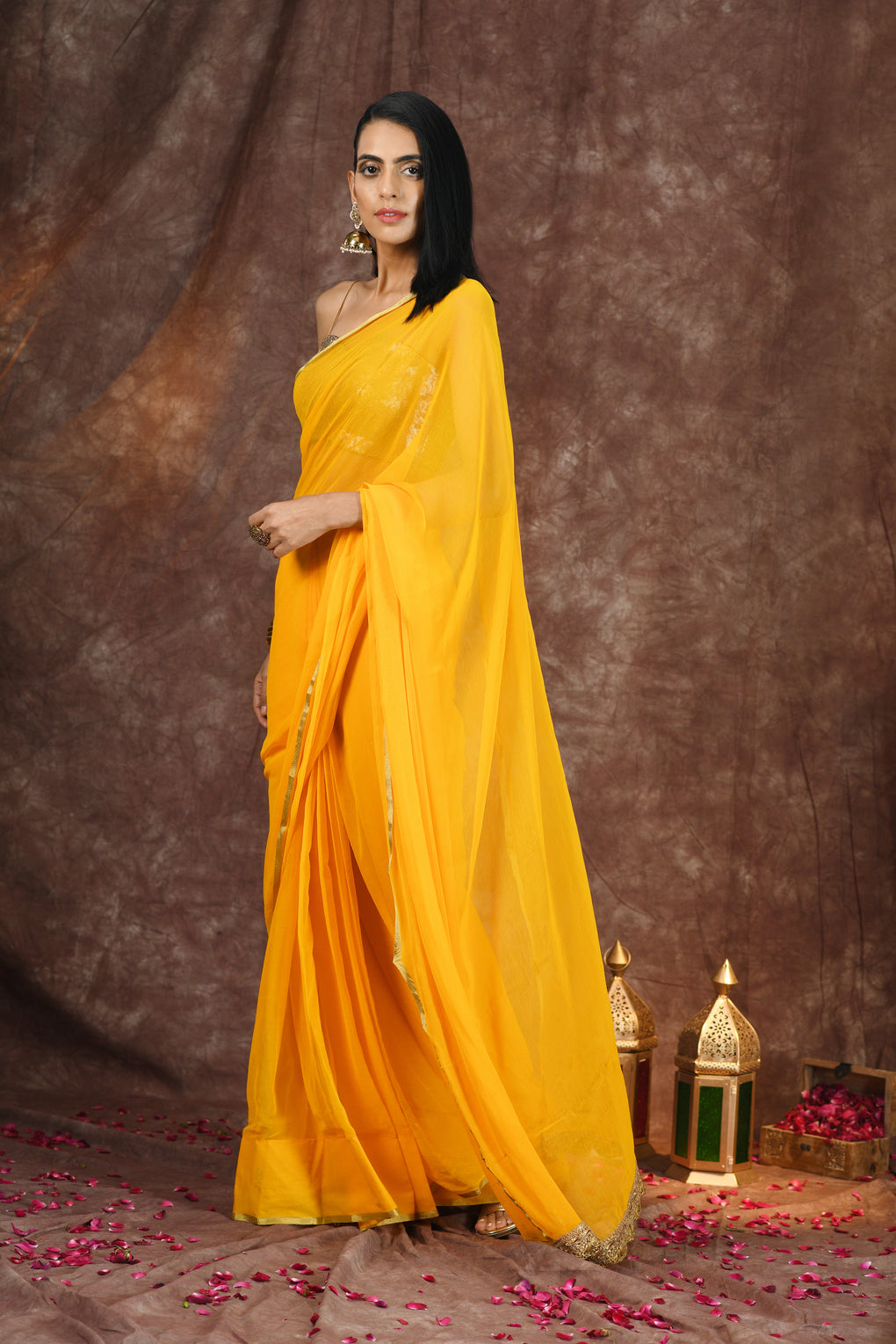 Yellow Chiffon with Gold Border & Lace Saree with Plain Blouse