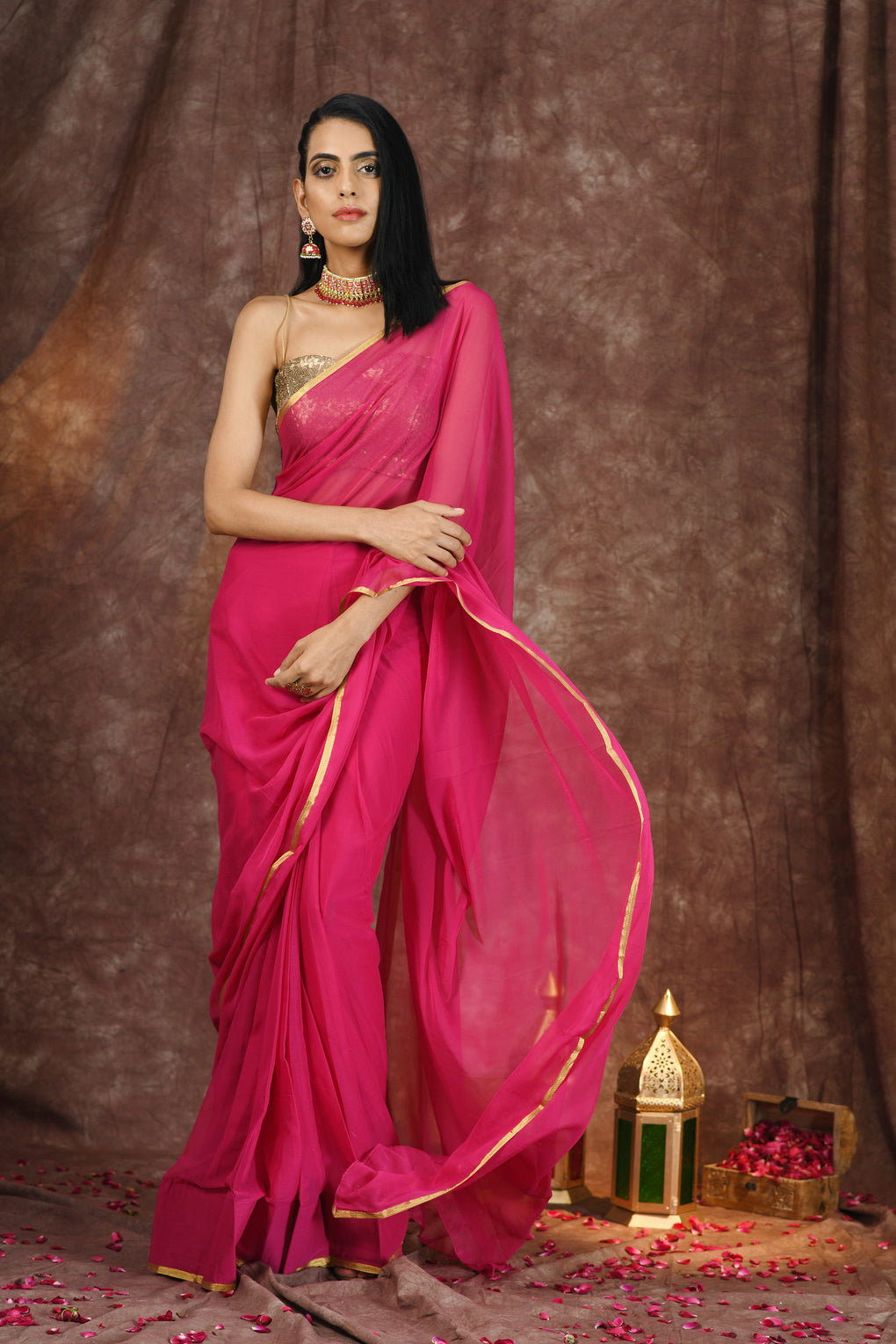 Pink with Gold Border Saree with Plain Blouse