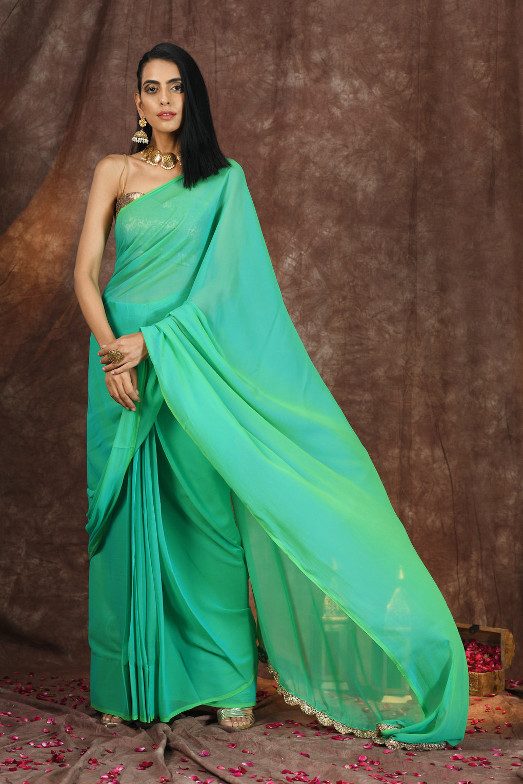 Green Chiffon Saree with Lace on Edge