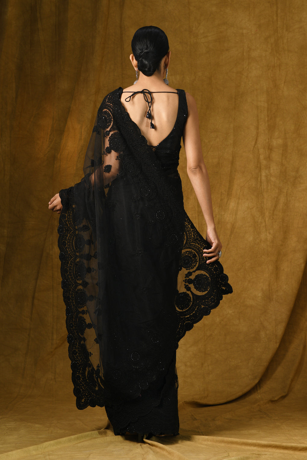 Black Net Saree with Embroidery & Scalloping